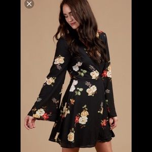 ALTAR'D STATE Black Floral Bell Sleeve Mini Dress
